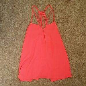 Bright pinky orange strappy back tank